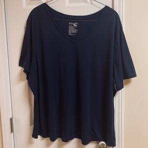 Terra & Sky Basic Blue V Neck T-shirt Shirt Sleeve